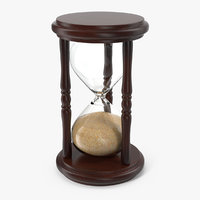 3D wooden hourglass sand timer model