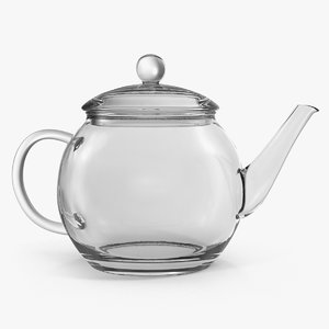 3D transparent glass teapot