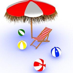3D beach chair umbrella