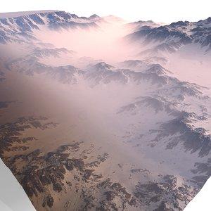 3D model snowy canyon