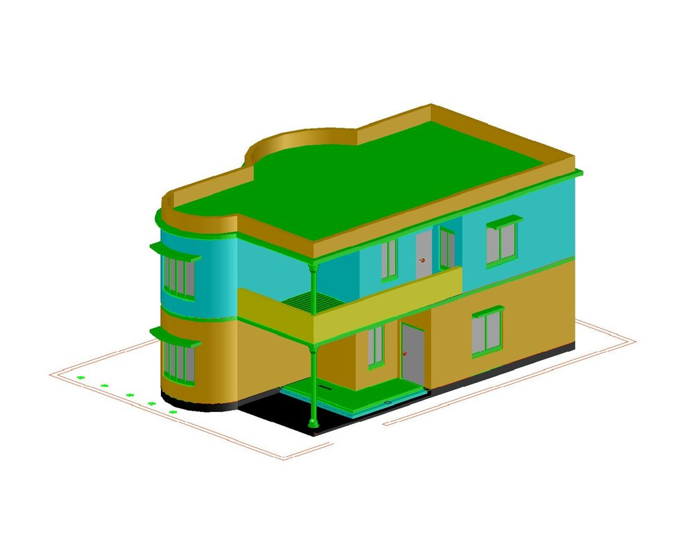 2bhk residential building 3D