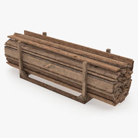 old wooded planks storage 3D