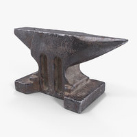 3D old used anvil