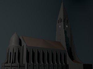 3D neogothic hallgrimskirkja