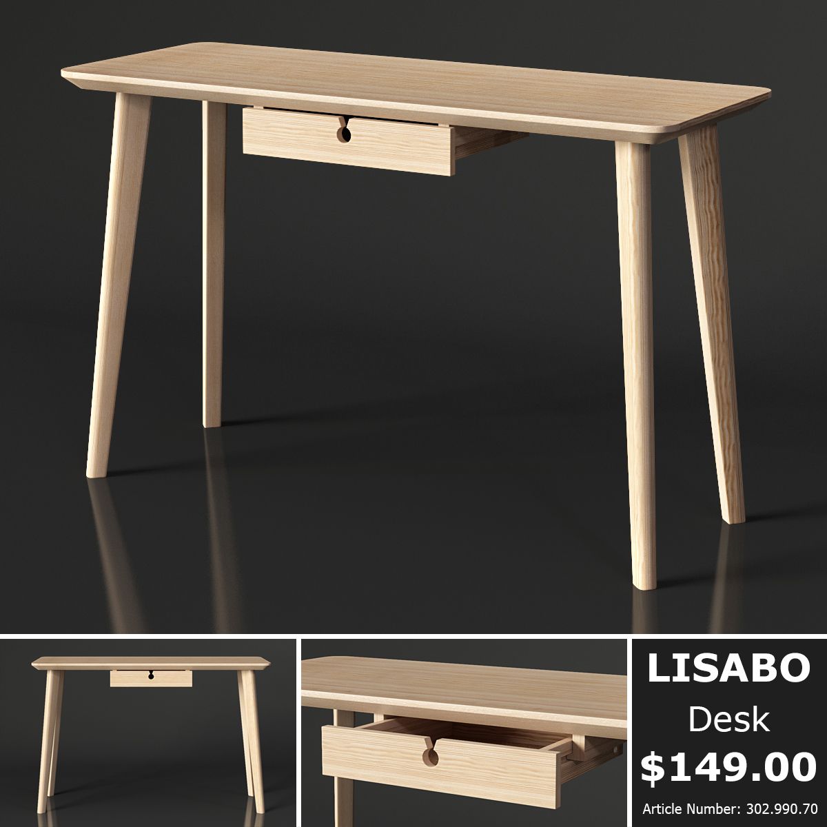 3d Ikea Lisabo Desk Model Turbosquid 1297496