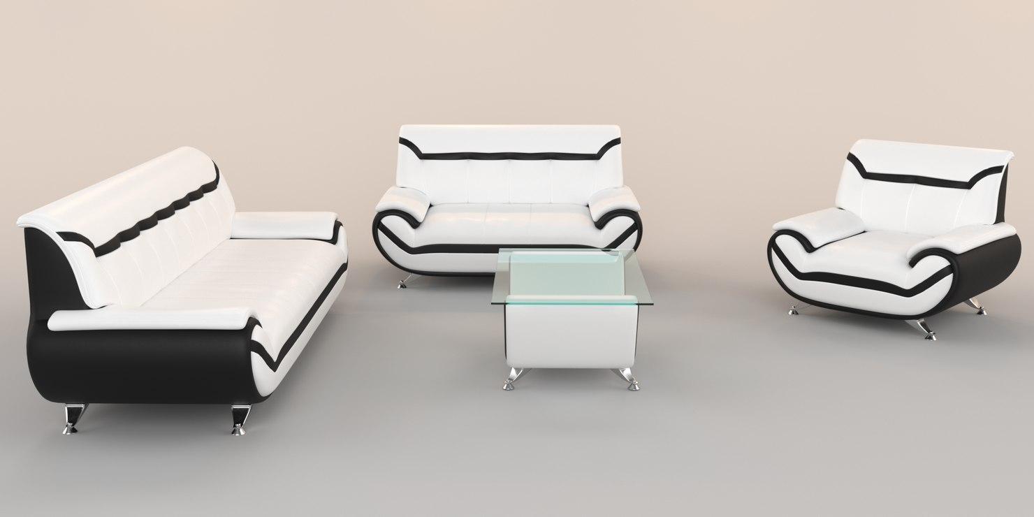 3D modern white leather sofas