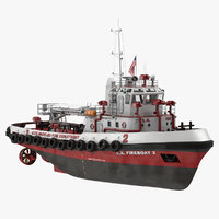 los angeles fireboat rigged 3D model