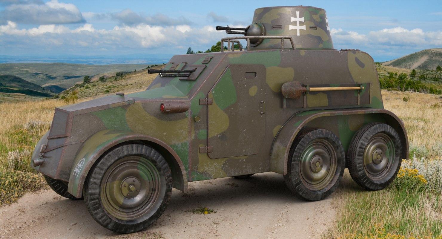 3D oa vz 30 armoured car model