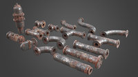 3D set pipe elements factory model