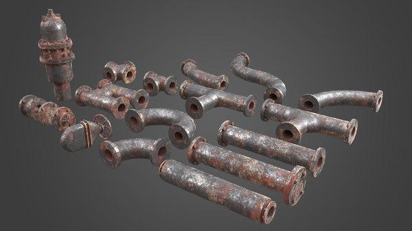 3D set pipe elements factory model