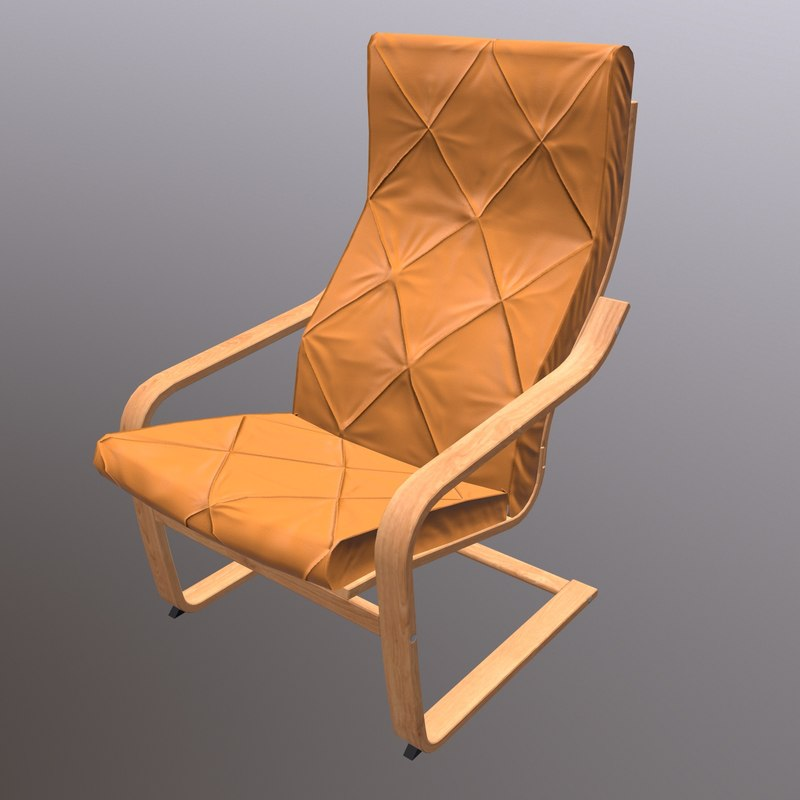 soft wooden chair 3D model