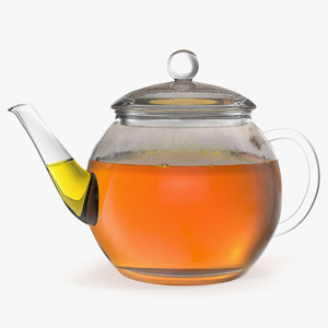 glass teapot tea 3D