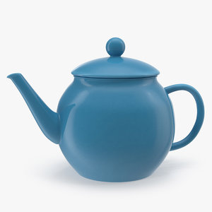 blue classic ceramic teapot 3D model