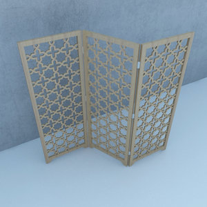 moroccan wood screens traditional 3D