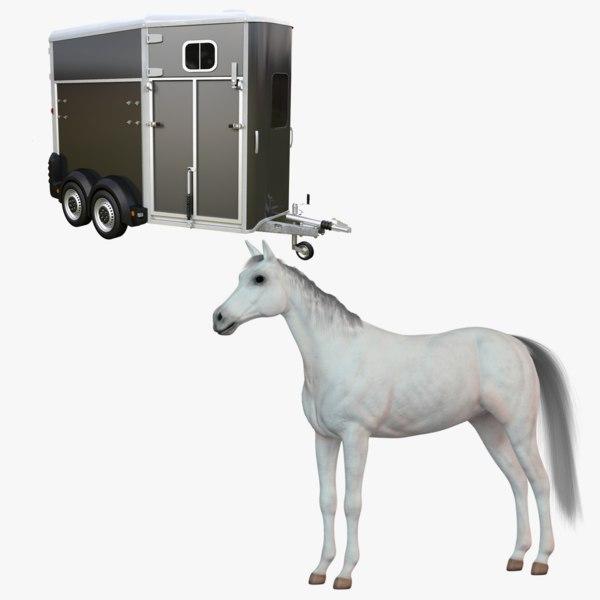3D model horse european-style trailer