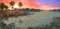 island palms sky 3D model