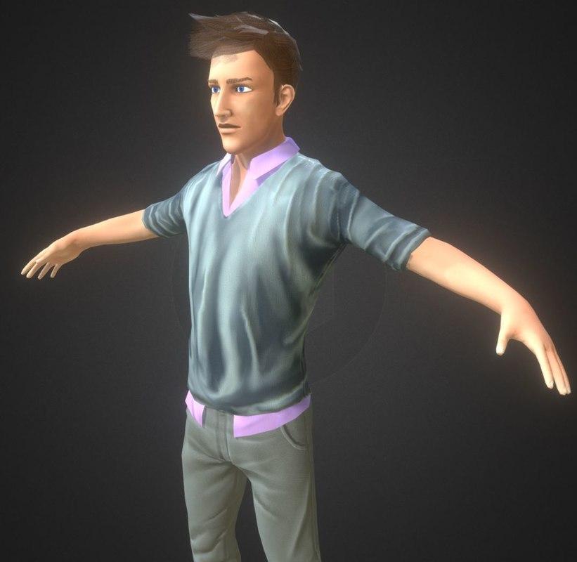 3D guy boy semi-realistic model