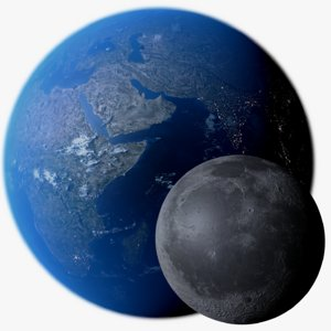 3D realistic earth moon photorealistic model