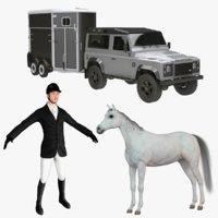 horse rider trailer 3D model