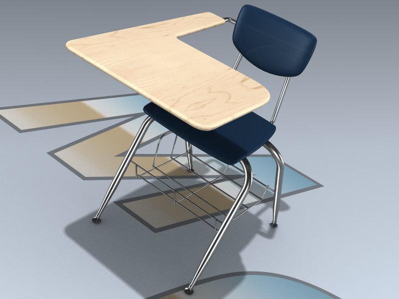 wide tablet arm student desk 3D model