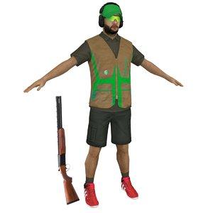 skeet shooter 3D model