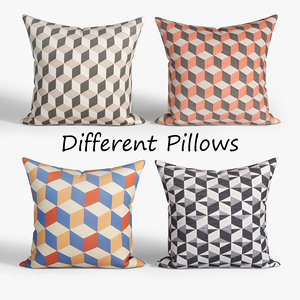 decorative pillows habitat set 3D