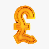 3D british pound symbol model