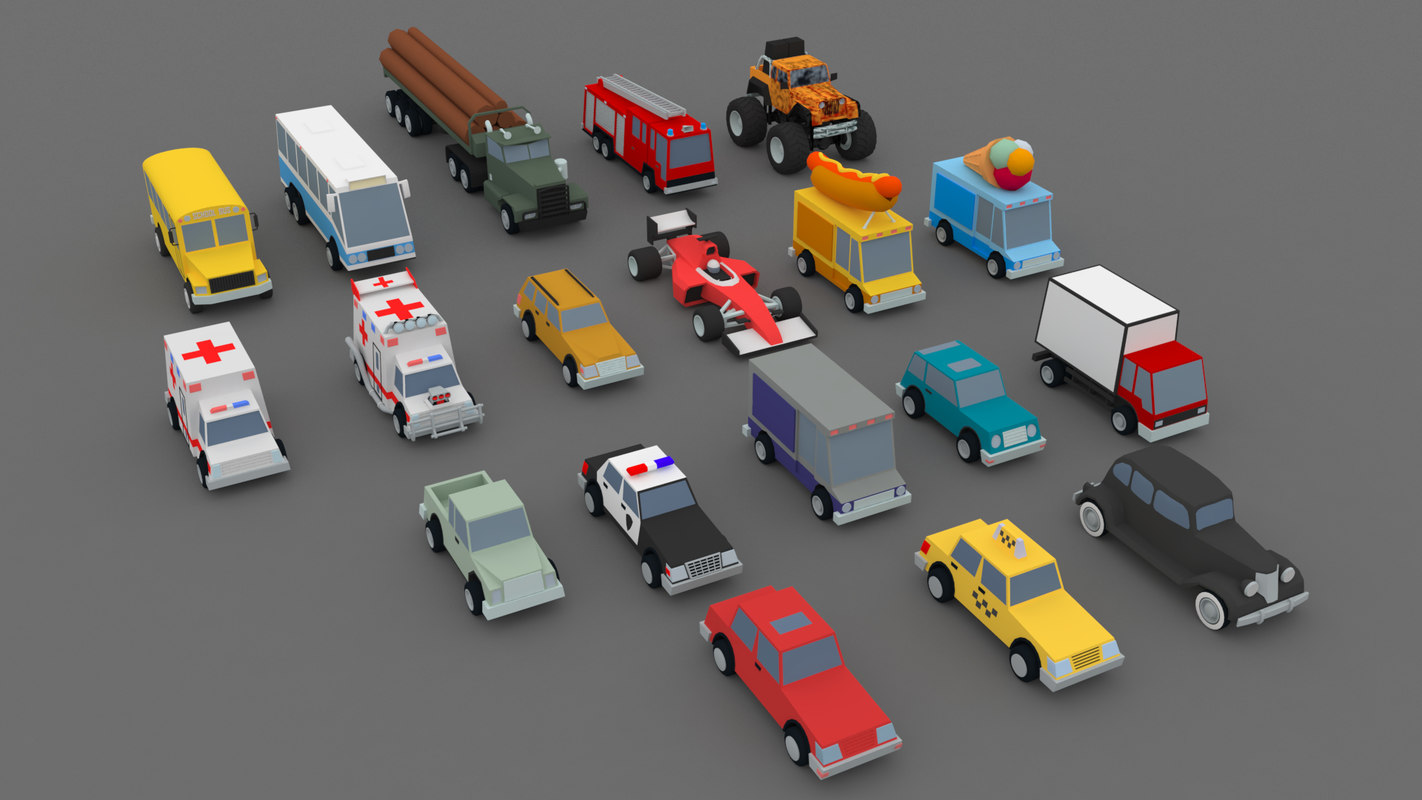 3D low-poly cars