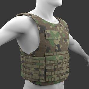 3D military tactical vest woodland