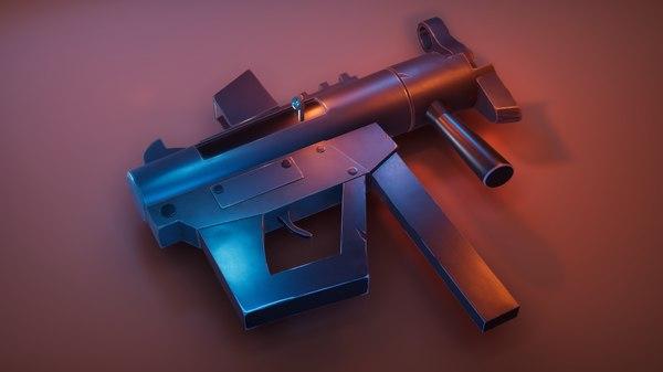 3D model stylized revolver metallic