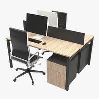 3D dual desk unit model