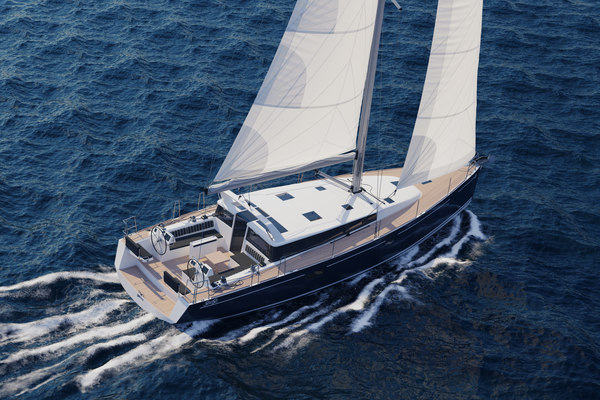 3D sailboat beneteau sense 50