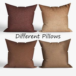 3D decorative pillows wayfair set model