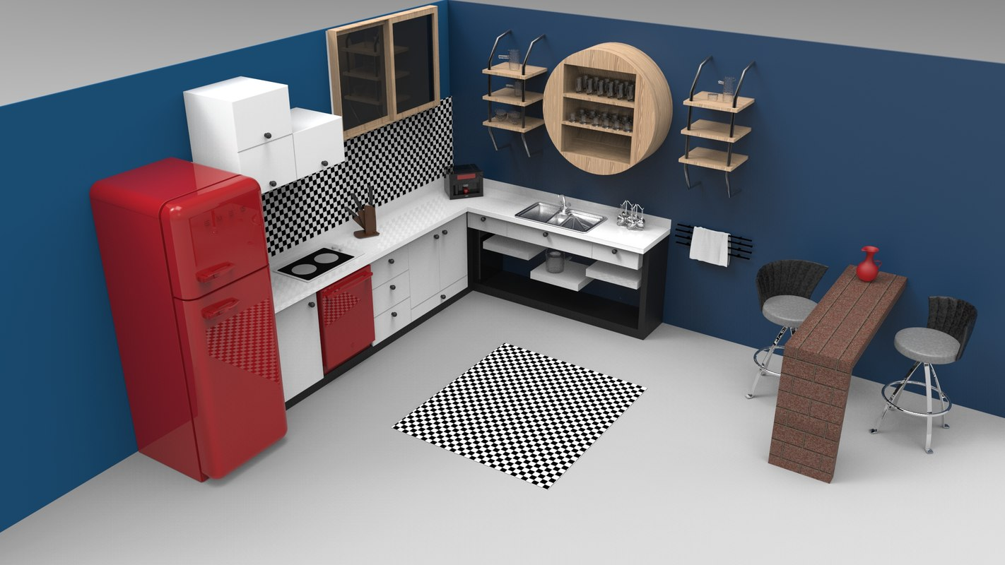 3D kitchen mutfak sink