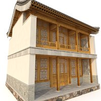 3D Chinese Two storey building