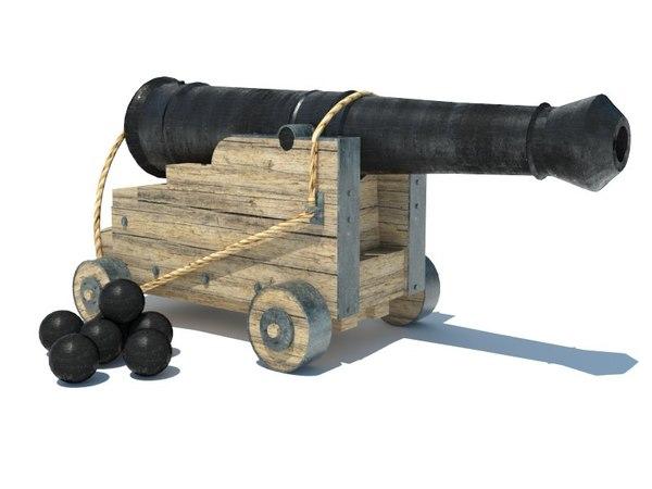 3D medieval vessel cannon model