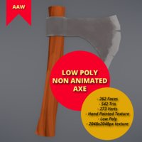 Non Animated Low Poly Axe