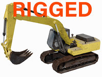 Low Poly Rigged Crawler Excavator