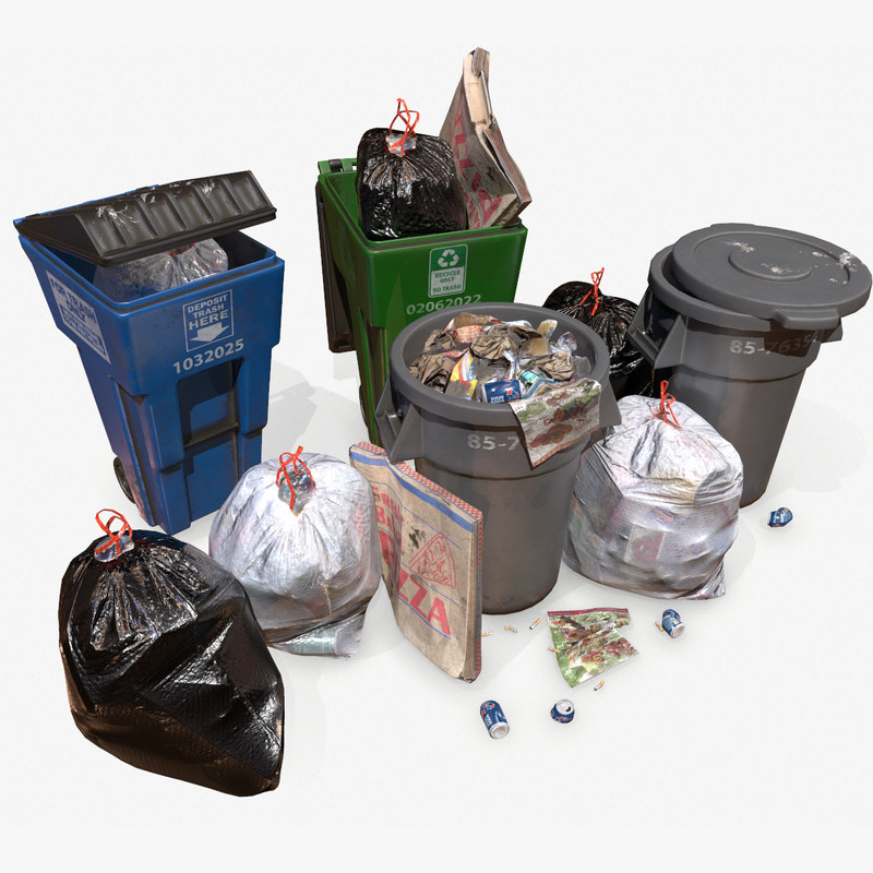 3D model unreal trash scene