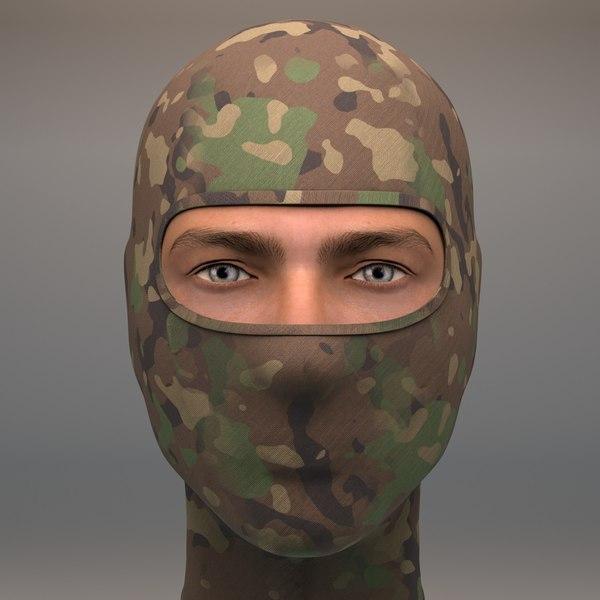 military camo woodland balaclava 3D model