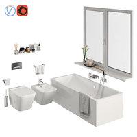 set bathroom toilet bath 3D model