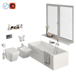 set bathroom toilet bath 3D model