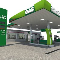 3D model modern gas station