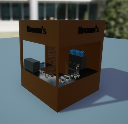 3D small coffee shop brown