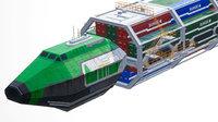 3D cargo spaceship ships model