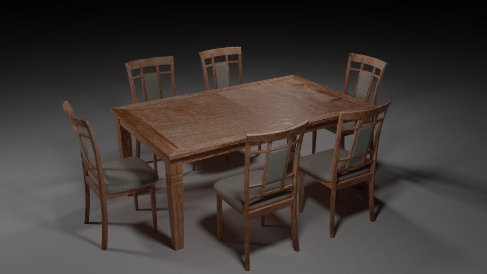 wooden dining set 3D model