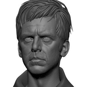 3D realistic male head sculpt model