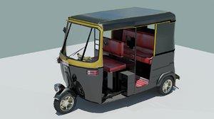 indian rickshaw black 3D model