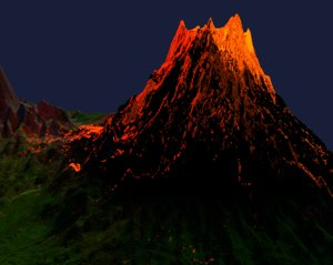 3D volcano eruption lava model