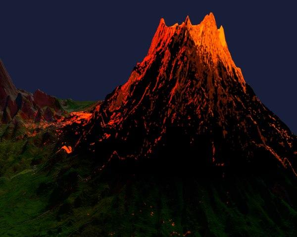 3D volcano eruption lava model